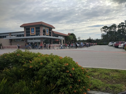 Line for water at the Aldi near my house